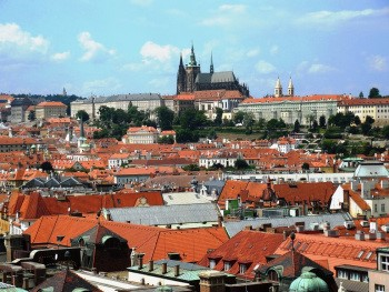 Prague Castle sits high on a hill watching over the city of Prague.